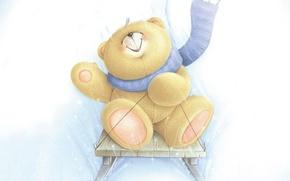 Picture winter, joy, smile, mood, art, slide, bear, scarf, sled, children's, Forever Friends Deckchair bear