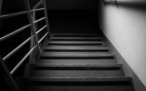 Picture ladder, stage, black and white