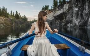Picture nature, beautiful, amazing, light, fashion, sweetheart, brown hair, boat, Nika, portrait, hair, dress, sitting, paddles, …