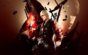 Wallpaper gun, fire, hand, sword, The Red Queen, Nero, Devil may cry 4, Nero, artwork, DmC, ...