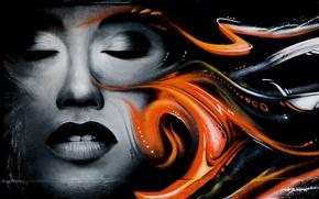 Picture girl, face, wall, graffiti, figure