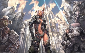 Wallpaper girl, clouds, the city, magic, warrior, horns, armor, tera