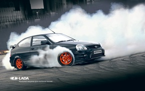 Picture smoke, drift, car, Lada, Lada, Priora, Vaz, coupe, AVTOVAZ, Prior