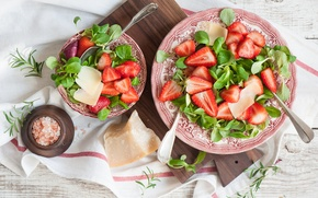 Picture berries, cheese, strawberry, salad