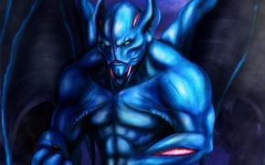 Picture blue, wings, being, art, Dota 2, Night Stalker, Balanar, niekholest