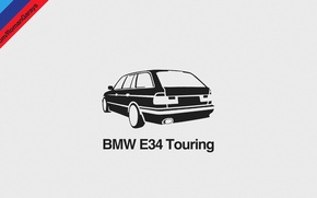 Picture BMW, Dark, Helvetica, Car, Design, Black, Wallpaper, E34, Gray, Touring, Minimalism, Graphics, Bavarian, Tricolor