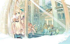 Picture winter, animals, snow, the city, street, window, capsule, vocaloid, Kagamine Rin, Vocaloid