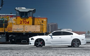 Picture the sky, train, profile, white, wheels, drives, Dodge, dodge, charger, srt8, SRT, train, the charger, …