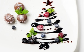 Picture berries, tree, New Year, plate, Christmas, cakes, glaze, cupcakes