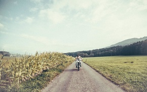 Picture road, field, the sun, clouds, corn, motorcycle, male, farm