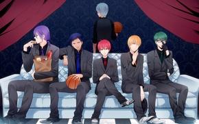 Wallpaper sofa, Kuroko Tetsuya, tie, the ball, kuroko's basketball, Aomine Daiki, guys, vest, anime, Kise Ryouta, ...
