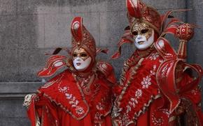 Wallpaper red, pair, Venice, mask, carnival, costume