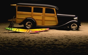 Picture sand, lights, guitar, drives, Hot Rod, surf, classic
