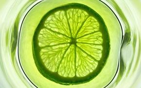 Wallpaper water, glass, green, fruit, lime, citrus