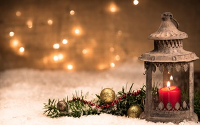 Wallpaper balls, candle, branch, Christmas, lantern, New year, bokeh
