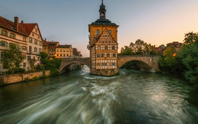 Wallpaper Bamberg, river, Bayern, building, Bamberg, the river Regnitz, promenade, bridge, Germany, Bavaria, Germany, Old town ...