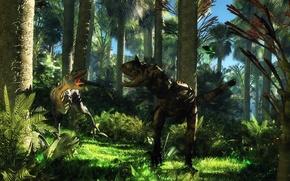 Picture jungle, dinosaurs, dispute, cretaceous age, disagreement