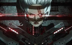 Picture look, guns, neon, lasers, cyborg, scar, SHWANN Universe, Tempo Slice