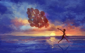 Wallpaper sea, girl, sunset, balloons, emotions, art, running