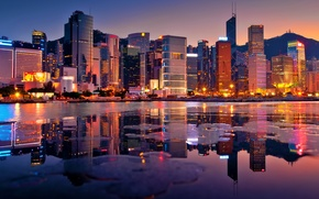Picture skyscrapers, Hong Kong, Bay, lights, the evening, building, hong kong, sunset