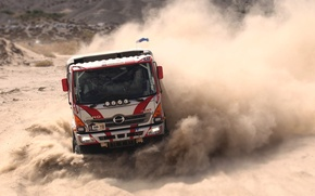Picture Dust, Sport, Turn, Truck, Skid, Cabin, Rally, Dakar, The front, Huno