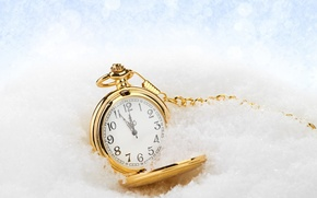 Picture new year, Christmas, winter, snow, time, clock