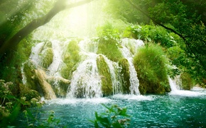 Wallpaper rays, the sun, Waterfall, vegetation, waterfall, Lazur, trees