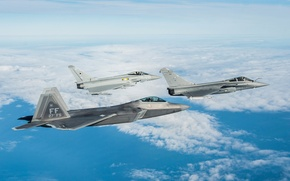 Picture the sky, flight, fighters, F-22 Raptor, FGR4