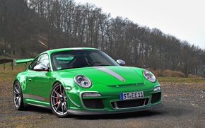 Wallpaper forest, the sky, trees, clouds, green, green, 911, Porsche, forest, Porsche, gt3, sky, clouds, tree, ...