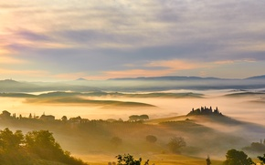Picture fog, dawn, field, morning, Italy, meadows, Tuscany, Toscana
