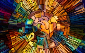 Picture mosaic, stained glass, colorful