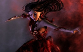 Picture knife, red dress, Alice, Madness Returns, american mcgee