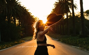 Picture girl, flight, sunset, face, smile, hat