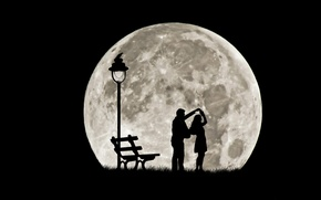 Picture dance, pair, silhouettes, full moon