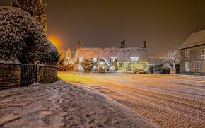 Wallpaper winter, snow, night, lights, England, village, United Kingdom, Cambridgeshire, Marholm