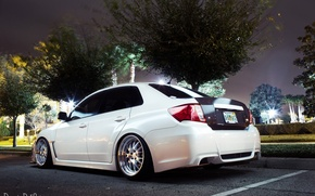 Picture machine, auto, lights, Subaru, white, on the street, impreza