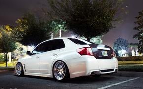 Picture machine, auto, lights, Subaru, white, on the street, impreza