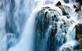 Picture water, landscape, nature, stones, rocks, waterfall, stream, power, cascade, rapid
