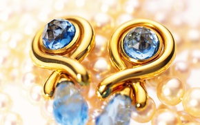 Picture gold, pearl, decoration, earrings, sapphire