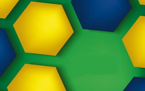 Picture colorful, abstract, background, hexagons, brasil style