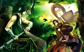 Picture the battle, Sasuke, naruto, art, Itachi, kivi1230