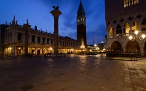 Picture the sky, clouds, night, lights, Italy, Venice, the Doge's Palace, Piazzetta, column of St. Mark, …
