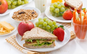 Picture Strawberry, Plate, Grapes, Apples, Food, Muesli, Sandwich