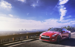 Picture the sky, horizon, red, Nissan, GT-R, megapolis