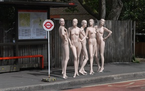 Picture the city, street, mannequins