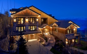 Picture lights, house, Villa, the evening