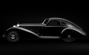 Picture minimalism, Mercedes, Machine, black and white, Mercedes