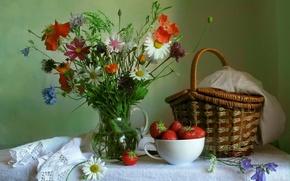 Picture flowers, Mac, bouquet, Daisy, strawberry, pitcher, still life, basket