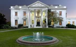 Picture design, lights, house, lawn, the evening, fountain, USA, mansion, the bushes, Louisiana