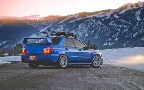 Picture road, snow, mountains, the evening, Subaru, wrx, impreza, Subaru, sti, Impreza